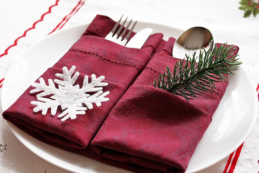 Doppelte Bestecktasche zu Weihnachten