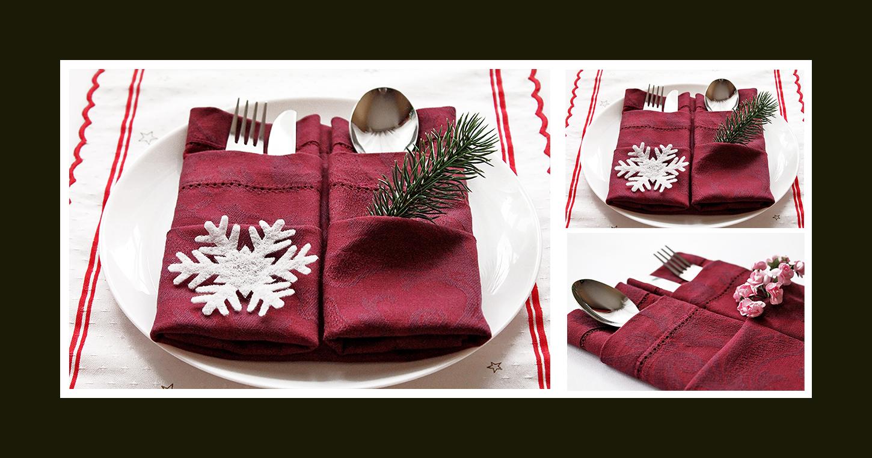 doppelte bestecktasche zu weihnachten. Black Bedroom Furniture Sets. Home Design Ideas