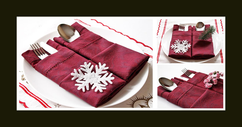 Doppelte Bestecktasche zu Weihnachten falten