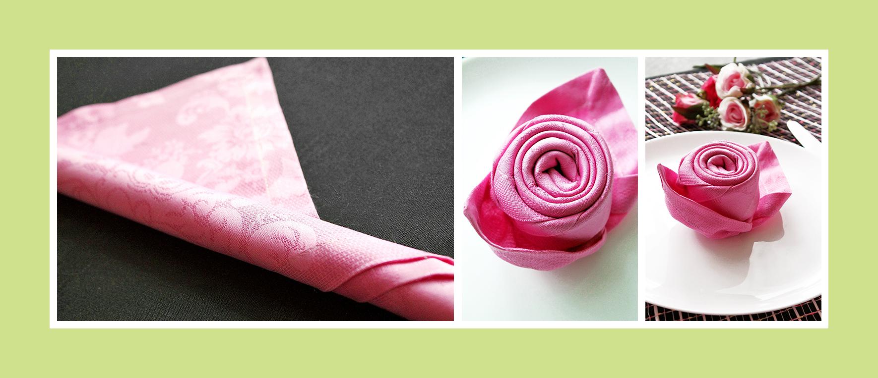 Rose aus Stoffservietten falten Anleitung