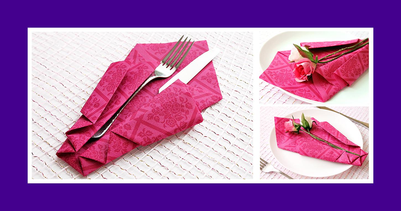 Rote Papierserviette zum Geburtstag falten 0124