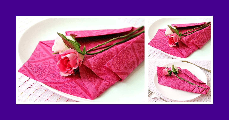 Rote Papierserviette zum Geburtstag falten romantisch