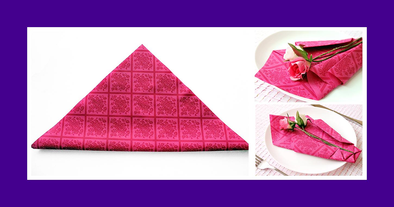 Rote Papierserviette zum Geburtstag falten