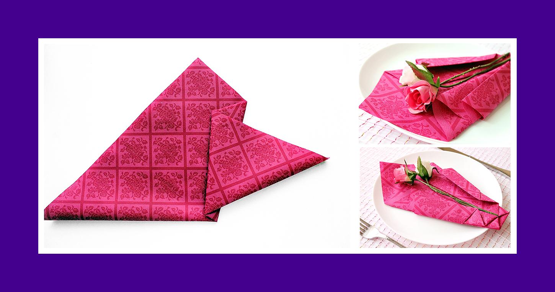 Rote Papierserviette zum Muttertagfalten