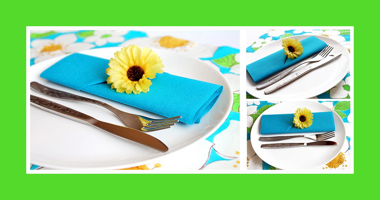 Schnelle Bestecktasche aus blauen Papierserviette zur Grillparty 01