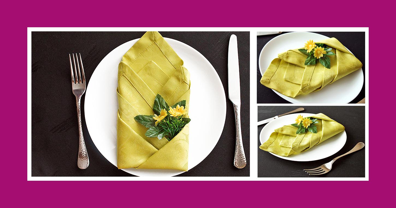 Servietten falten Anleitung Tulpe aus Stoffserviette Tischdeko Frühling