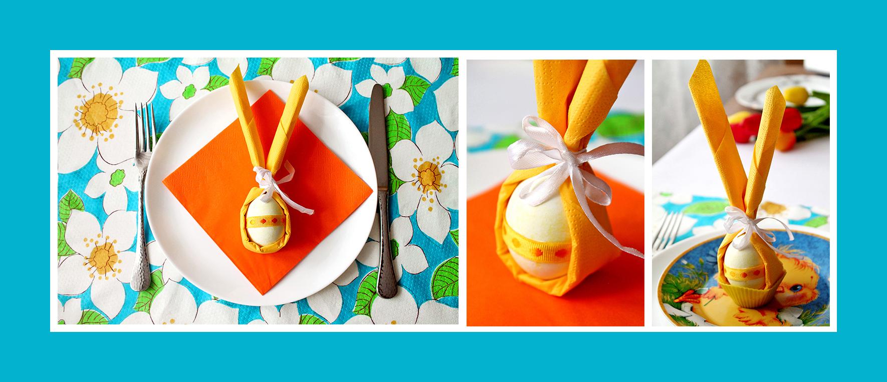 Servietten falten Hasenohren Ostern Osterfest