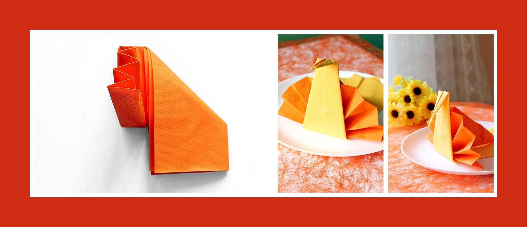Servietten falten orangene Servietten