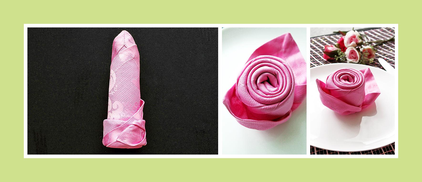 Servietten falten Valentinstag Rose